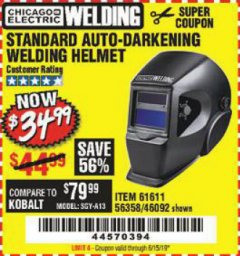 Harbor Freight Coupon ADJUSTABLE SHADE AUTO-DARKENING WELDING HELMET Lot No. 46092/61611 Expired: 6/15/19 - $34.99