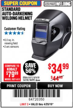 Harbor Freight Coupon ADJUSTABLE SHADE AUTO-DARKENING WELDING HELMET Lot No. 46092/61611 Expired: 4/28/19 - $34.99