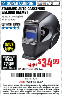 Harbor Freight Coupon ADJUSTABLE SHADE AUTO-DARKENING WELDING HELMET Lot No. 46092/61611 Expired: 6/30/20 - $34.99
