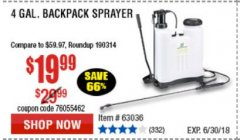 Harbor Freight Coupon 4 GALLON BACKPACK SPRAYER Lot No. 93302/61368/63036/63092 Expired: 6/30/18 - $19.99