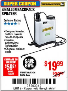 Harbor Freight Coupon 4 GALLON BACKPACK SPRAYER Lot No. 93302/61368/63036/63092 Expired: 8/6/18 - $19.99