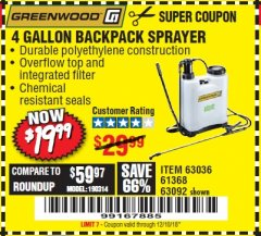 Harbor Freight Coupon 4 GALLON BACKPACK SPRAYER Lot No. 93302/61368/63036/63092 Expired: 12/10/18 - $19.99