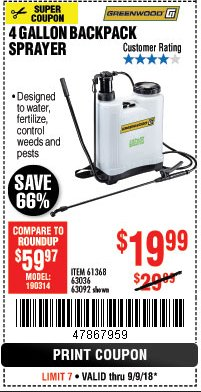 Harbor Freight Coupon 4 GALLON BACKPACK SPRAYER Lot No. 93302/61368/63036/63092 Expired: 9/9/18 - $19.99