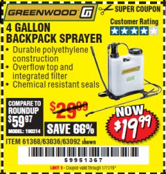 Harbor Freight Coupon 4 GALLON BACKPACK SPRAYER Lot No. 93302/61368/63036/63092 Expired: 1/11/19 - $19.99