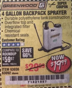 Harbor Freight Coupon 4 GALLON BACKPACK SPRAYER Lot No. 93302/61368/63036/63092 Expired: 2/5/19 - $19.99