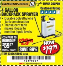 Harbor Freight Coupon 4 GALLON BACKPACK SPRAYER Lot No. 93302/61368/63036/63092 Expired: 3/1/19 - $19.99