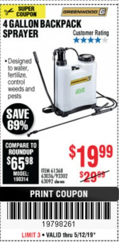 Harbor Freight Coupon 4 GALLON BACKPACK SPRAYER Lot No. 93302/61368/63036/63092 Expired: 5/12/19 - $19.99