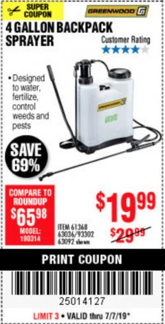 Harbor Freight Coupon 4 GALLON BACKPACK SPRAYER Lot No. 93302/61368/63036/63092 Expired: 7/7/19 - $19.99