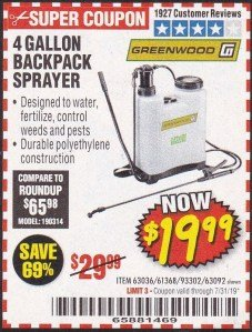 Harbor Freight Coupon 4 GALLON BACKPACK SPRAYER Lot No. 93302/61368/63036/63092 Expired: 7/31/19 - $19.99