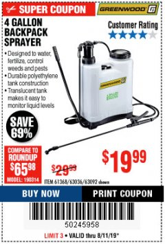 Harbor Freight Coupon 4 GALLON BACKPACK SPRAYER Lot No. 93302/61368/63036/63092 Expired: 8/11/19 - $19.99
