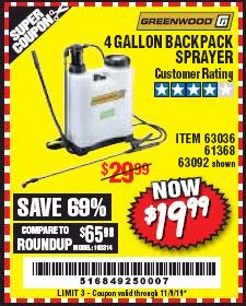 Harbor Freight Coupon 4 GALLON BACKPACK SPRAYER Lot No. 93302/61368/63036/63092 Expired: 11/9/19 - $19.99