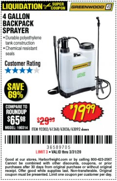 Harbor Freight Coupon 4 GALLON BACKPACK SPRAYER Lot No. 93302/61368/63036/63092 Valid Thru: 3/31/20 - $19.99