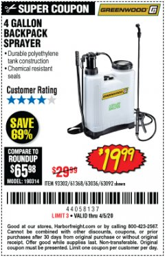 Harbor Freight Coupon 4 GALLON BACKPACK SPRAYER Lot No. 93302/61368/63036/63092 Valid: 2/27/20 - 4/5/20 - $19.99