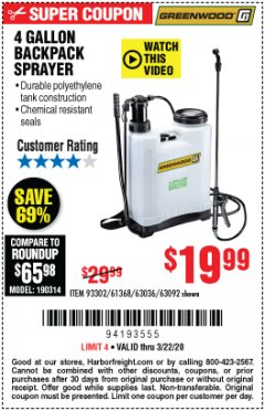 Harbor Freight Coupon 4 GALLON BACKPACK SPRAYER Lot No. 93302/61368/63036/63092 Expired: 3/22/20 - $19.99