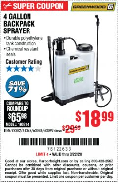 Harbor Freight Coupon 4 GALLON BACKPACK SPRAYER Lot No. 93302/61368/63036/63092 Expired: 3/22/20 - $18.99