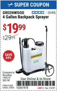Harbor Freight Coupon 4 GALLON BACKPACK SPRAYER Lot No. 93302/61368/63036/63092 EXPIRES: 7/5/20 - $19.99