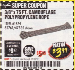 "Harbor Freight Coupon 3/8"" x 75 FT. CAMOUFLAGE POLY ROPE Lot No. 47835/61674 Expired: 11/30/18 - $3.99"