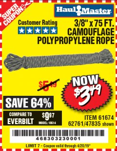 "Harbor Freight Coupon 3/8"" x 75 FT. CAMOUFLAGE POLY ROPE Lot No. 47835/61674 Expired: 4/20/19 - $3.49"