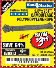 "Harbor Freight Coupon 3/8"" x 75 FT. CAMOUFLAGE POLY ROPE Lot No. 47835/61674 Expired: 6/1/19 - $3.49"