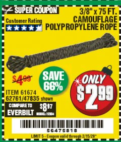 "Harbor Freight Coupon 3/8"" x 75 FT. CAMOUFLAGE POLY ROPE Lot No. 47835/61674 Expired: 2/15/20 - $2.99"