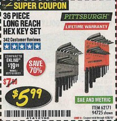 Harbor Freight Coupon 36 PIECE SAE/METRIC LONG REACH HEX KEY SET Lot No. 62171/94725 Expired: 4/30/19 - $5.99