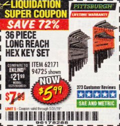 Harbor Freight Coupon 36 PIECE SAE/METRIC LONG REACH HEX KEY SET Lot No. 62171/94725 Expired: 5/31/19 - $5.99