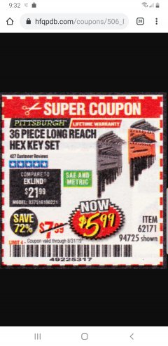 Harbor Freight Coupon 36 PIECE SAE/METRIC LONG REACH HEX KEY SET Lot No. 62171/94725 Expired: 8/31/19 - $5.99