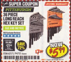 Harbor Freight Coupon 36 PIECE SAE/METRIC LONG REACH HEX KEY SET Lot No. 62171/94725 Expired: 10/31/19 - $5.99
