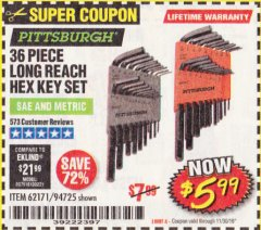 Harbor Freight Coupon 36 PIECE SAE/METRIC LONG REACH HEX KEY SET Lot No. 62171/94725 Expired: 11/30/19 - $5.99