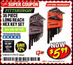 Harbor Freight Coupon 36 PIECE SAE/METRIC LONG REACH HEX KEY SET Lot No. 62171/94725 Expired: 3/31/20 - $5.99