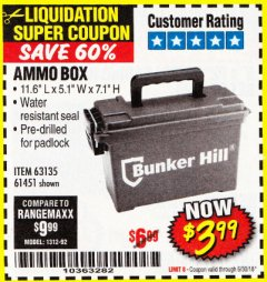 Harbor Freight Coupon AMMO BOX Lot No. 61451/63135 Expired: 6/30/18 - $3.99