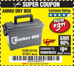 Harbor Freight Coupon AMMO BOX Lot No. 61451/63135 Expired: 10/8/18 - $3.99