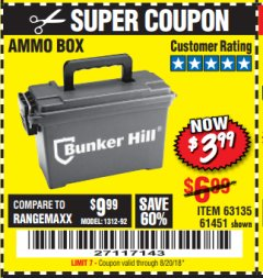 Harbor Freight Coupon AMMO BOX Lot No. 61451/63135 Expired: 8/20/18 - $3.99