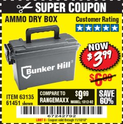 Harbor Freight Coupon AMMO BOX Lot No. 61451/63135 Expired: 11/18/18 - $3.99