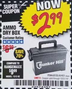 Harbor Freight Coupon AMMO BOX Lot No. 61451/63135 Expired: 10/31/18 - $2.99