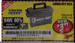 Harbor Freight Coupon AMMO BOX Lot No. 61451/63135 Expired: 12/22/18 - $3.99