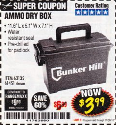 Harbor Freight Coupon AMMO BOX Lot No. 61451/63135 Expired: 11/30/18 - $3.99