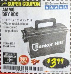 Harbor Freight Coupon AMMO BOX Lot No. 61451/63135 Expired: 12/31/18 - $3.99