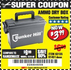 Harbor Freight Coupon AMMO BOX Lot No. 61451/63135 Expired: 4/1/19 - $3.99