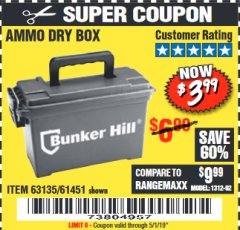 Harbor Freight Coupon AMMO BOX Lot No. 61451/63135 Expired: 5/1/19 - $3.99