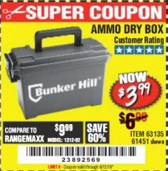Harbor Freight Coupon AMMO BOX Lot No. 61451/63135 Expired: 6/12/19 - $3.99