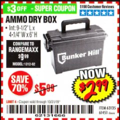 Harbor Freight Coupon AMMO BOX Lot No. 61451/63135 Expired: 10/31/19 - $2.99