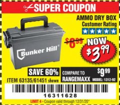 Harbor Freight Coupon AMMO BOX Lot No. 61451/63135 Valid: 9/11/19 - 7/31/20 - $3.99