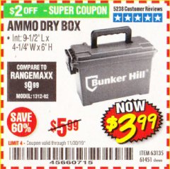 Harbor Freight Coupon AMMO BOX Lot No. 61451/63135 Expired: 11/30/19 - $3.99