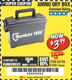 Harbor Freight Coupon AMMO BOX Lot No. 61451/63135 Expired: 2/12/20 - $3.99