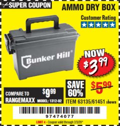 Harbor Freight Coupon AMMO BOX Lot No. 61451/63135 Expired: 2/3/20 - $3.99