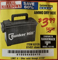 Harbor Freight Coupon AMMO BOX Lot No. 61451/63135 Expired: 3/7/20 - $3.99