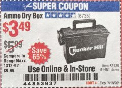 Harbor Freight Coupon AMMO BOX Lot No. 61451/63135 Valid Thru: 7/18/20 - $3.49