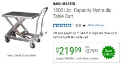 Harbor Freight Coupon 1000 LB. CAPACITY HYDRAULIC TABLE CART Lot No. 69148/60438 EXPIRES: 6/30/20 - $219.99