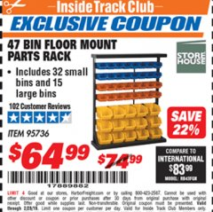Harbor Freight ITC Coupon 47 BIN FLOOR MOUNT PARTS RACK Lot No. 61166/95736 Expired: 2/28/19 - $64.99